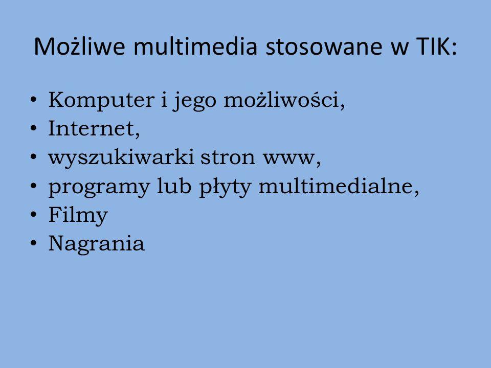 Możliwe multimedia stosowane w TIK: