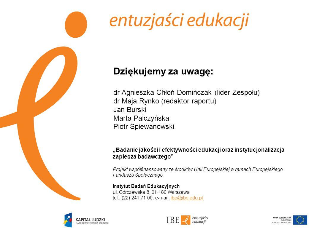 Dziękujemy za uwagę: dr Agnieszka Chłoń-Domińczak (lider Zespołu) dr Maja Rynko (redaktor raportu) Jan Burski Marta Palczyńska Piotr Śpiewanowski