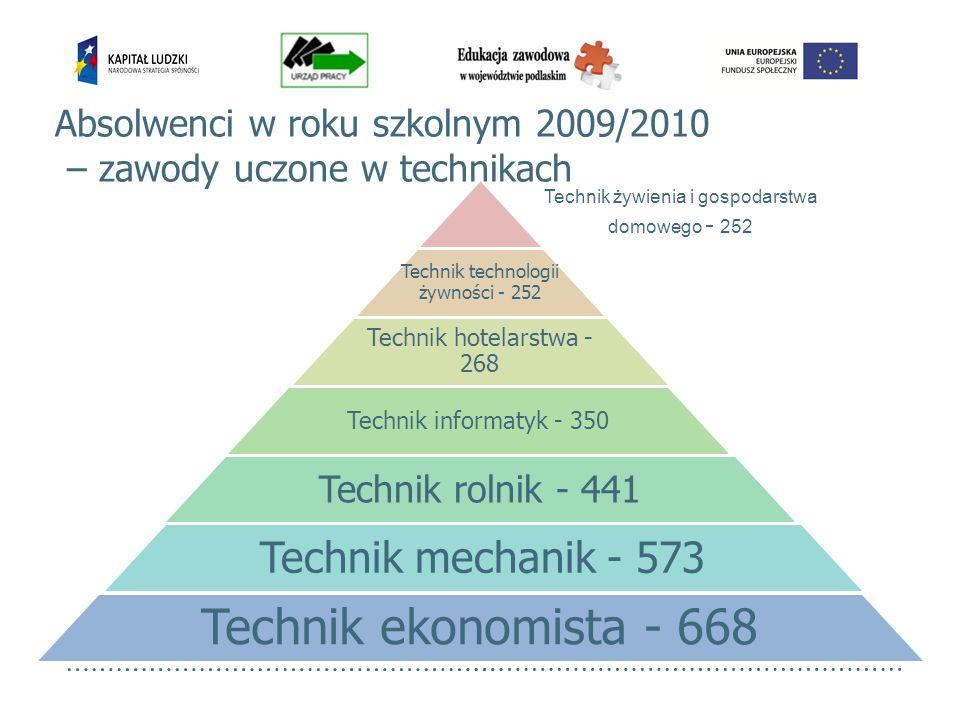 Absolwenci w roku szkolnym 2009/2010 – zawody uczone w technikach