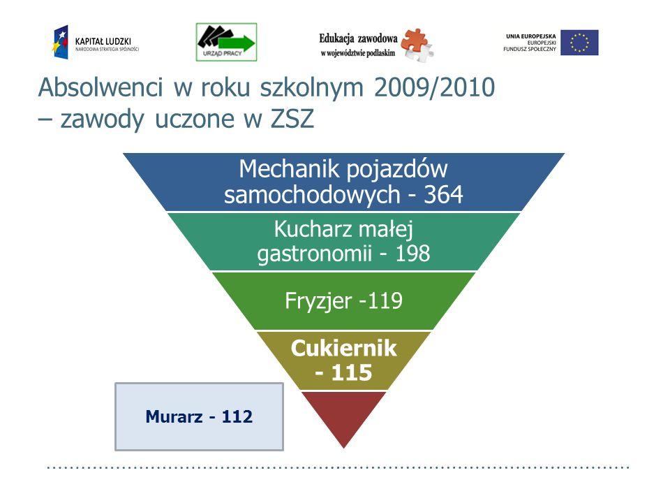 Absolwenci w roku szkolnym 2009/2010 – zawody uczone w ZSZ