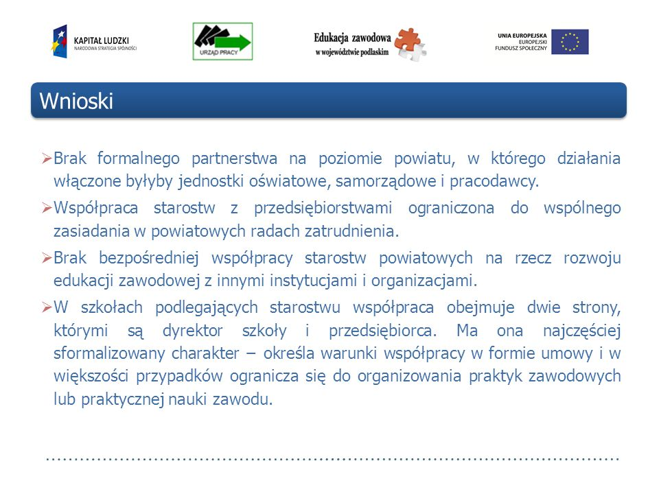 Wnioski Brak formalnego partnerstwa na poziomie powiatu, w którego działania włączone byłyby jednostki oświatowe, samorządowe i pracodawcy.