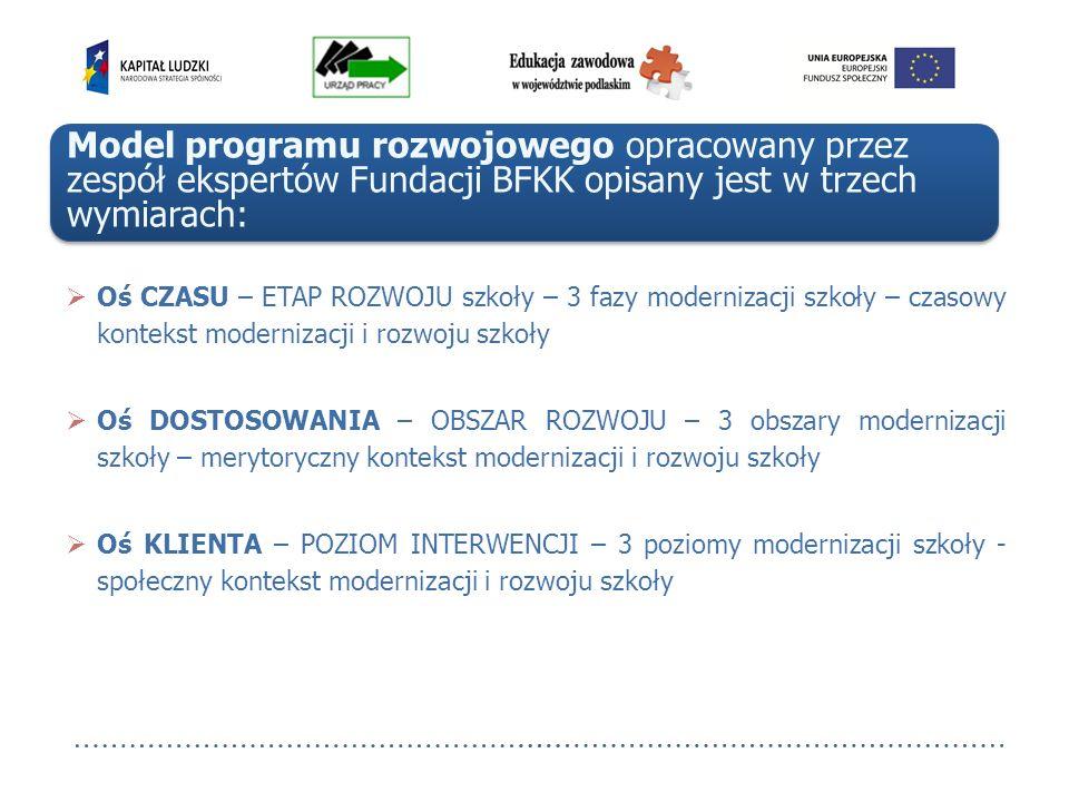 Model programu rozwojowego opracowany przez zespół ekspertów Fundacji BFKK opisany jest w trzech wymiarach: