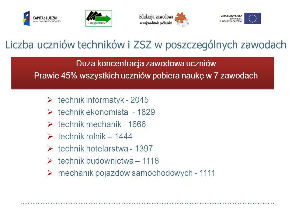 Liczba uczniów techników i ZSZ w poszczególnych zawodach