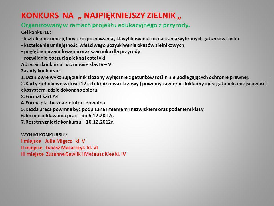 """KONKURS NA """" NAJPIĘKNIEJSZY ZIELNIK """""""
