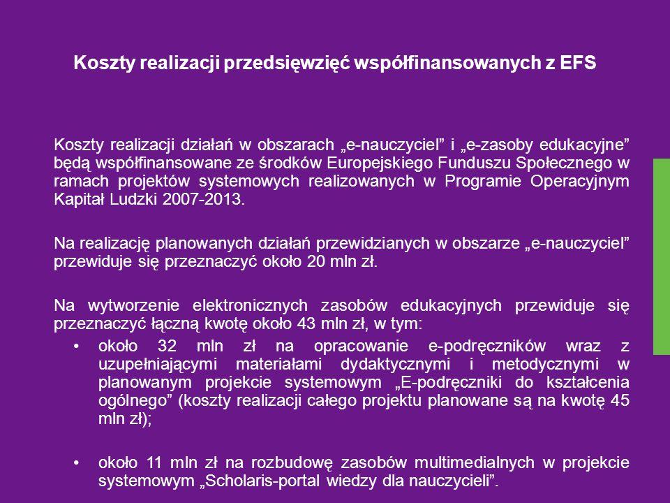 Koszty realizacji przedsięwzięć współfinansowanych z EFS