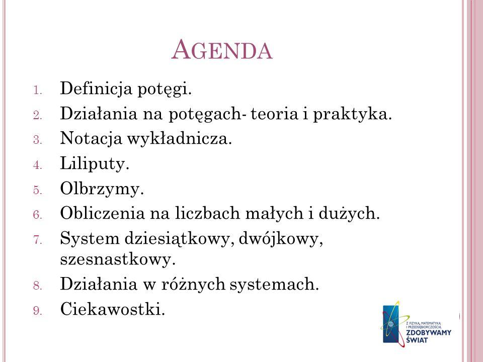 Agenda Definicja potęgi. Działania na potęgach- teoria i praktyka.