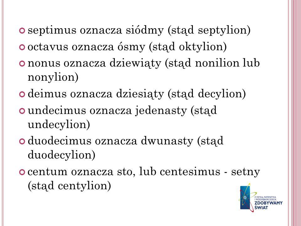septimus oznacza siódmy (stąd septylion)