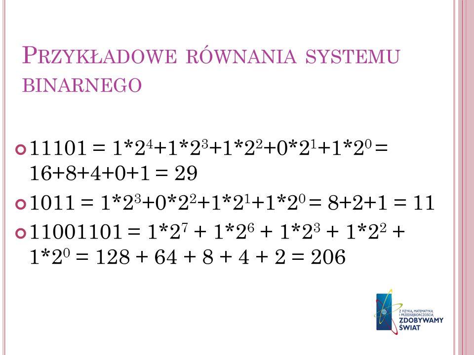 Przykładowe równania systemu binarnego