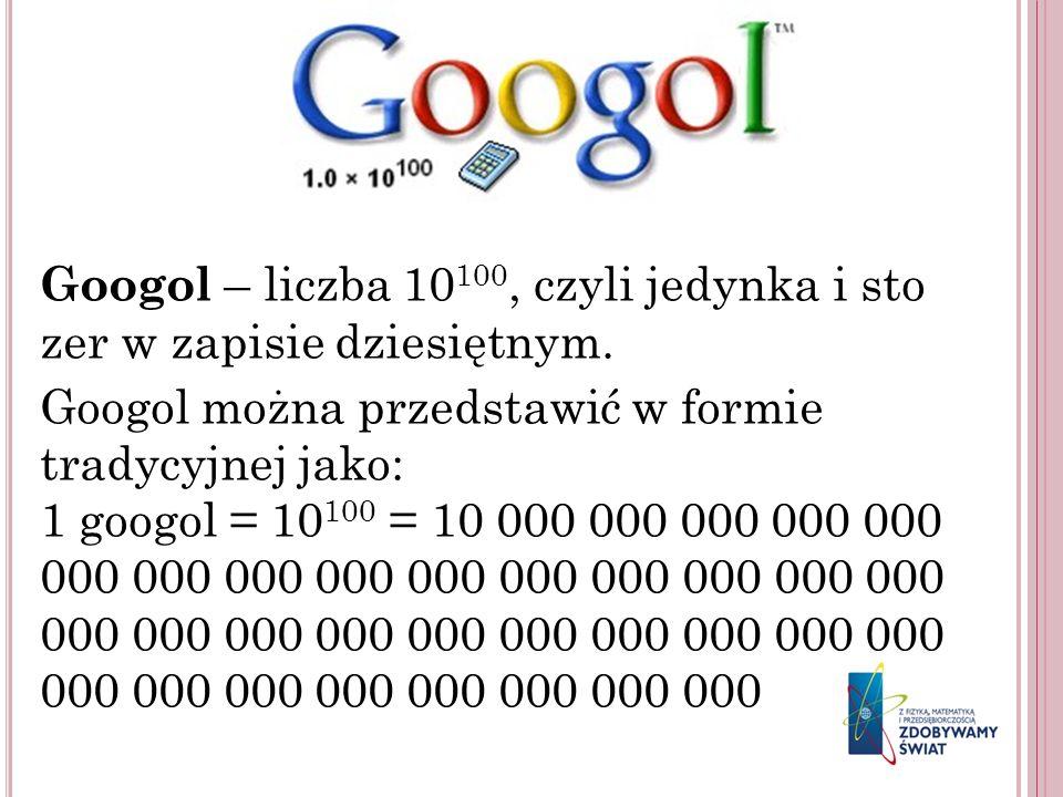 Googol – liczba 10100, czyli jedynka i sto zer w zapisie dziesiętnym