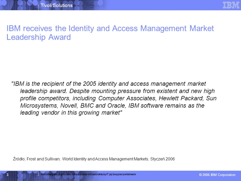 IBM receives the Identity and Access Management Market Leadership Award