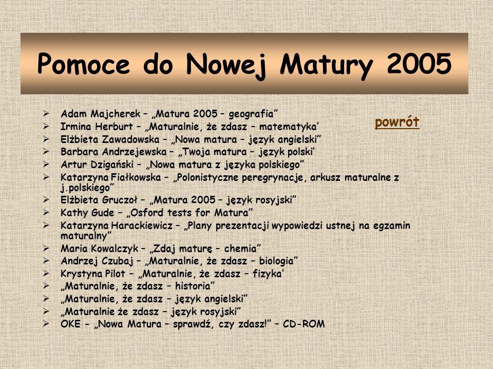 Pomoce do Nowej Matury 2005 powrót