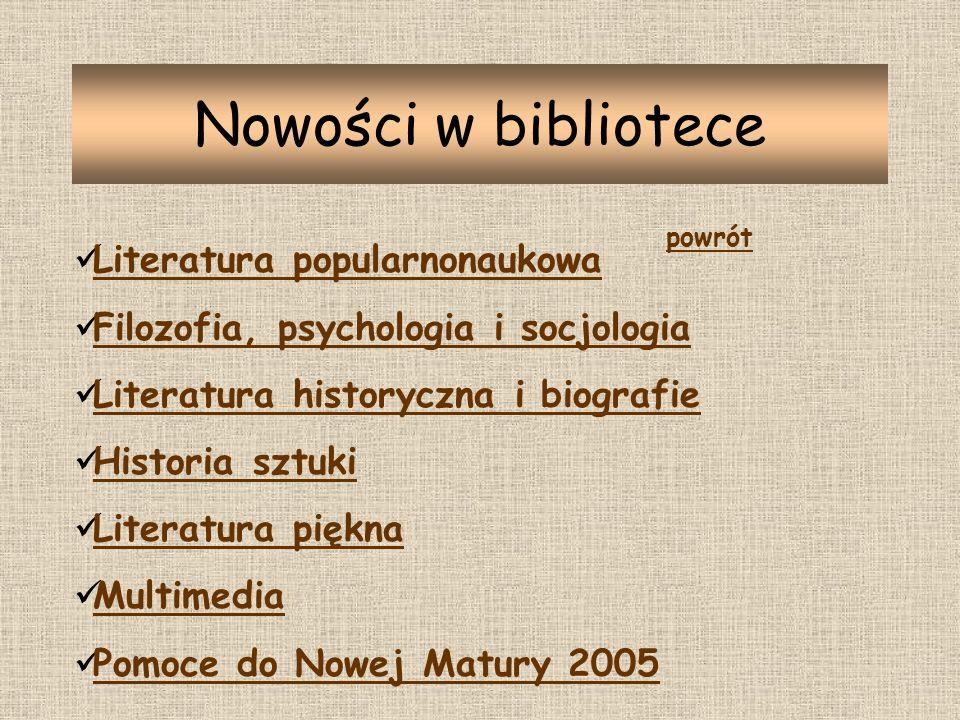 Nowości w bibliotece Literatura popularnonaukowa