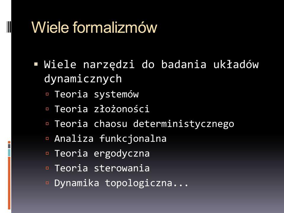 Wiele formalizmów Wiele narzędzi do badania układów dynamicznych