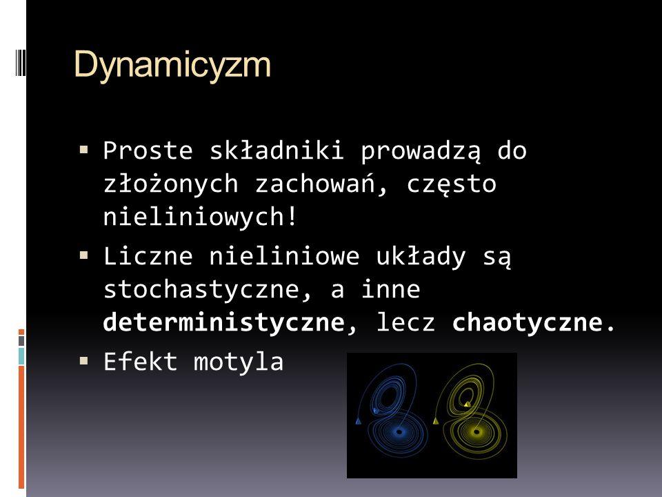 Dynamicyzm Proste składniki prowadzą do złożonych zachowań, często nieliniowych!