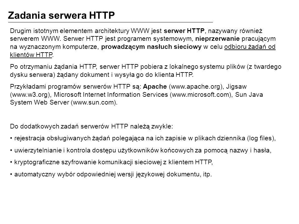 Zadania serwera HTTP