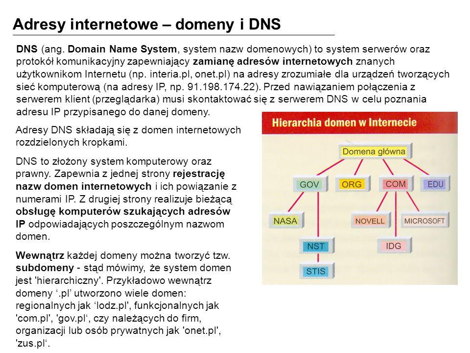 Adresy internetowe – domeny i DNS