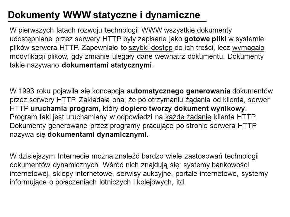 Dokumenty WWW statyczne i dynamiczne
