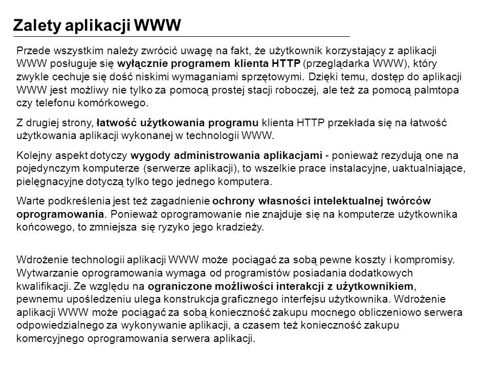 Zalety aplikacji WWW