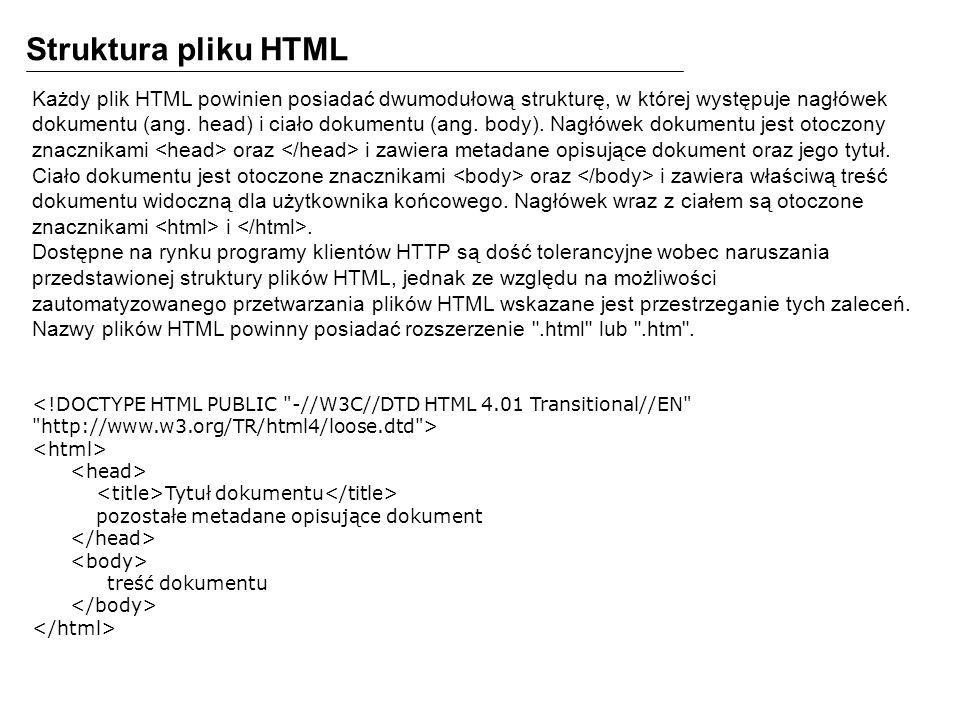 Struktura pliku HTML Każdy plik HTML powinien posiadać dwumodułową strukturę, w której występuje nagłówek.