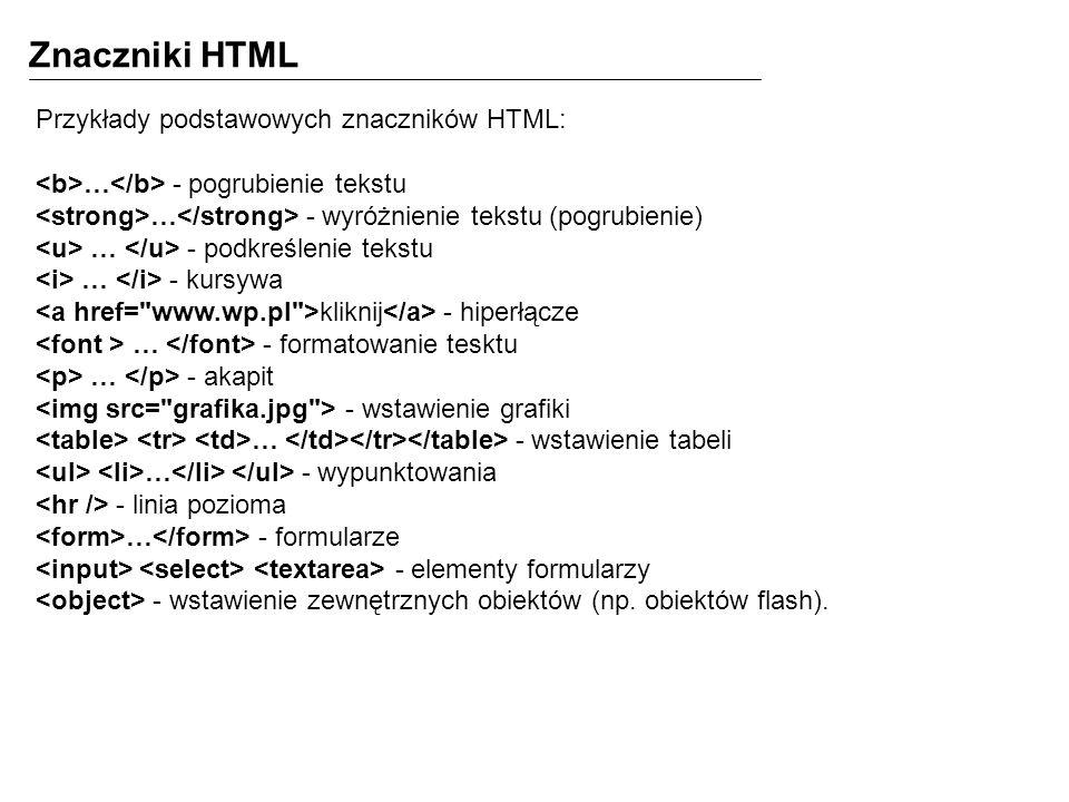Znaczniki HTML Przykłady podstawowych znaczników HTML:
