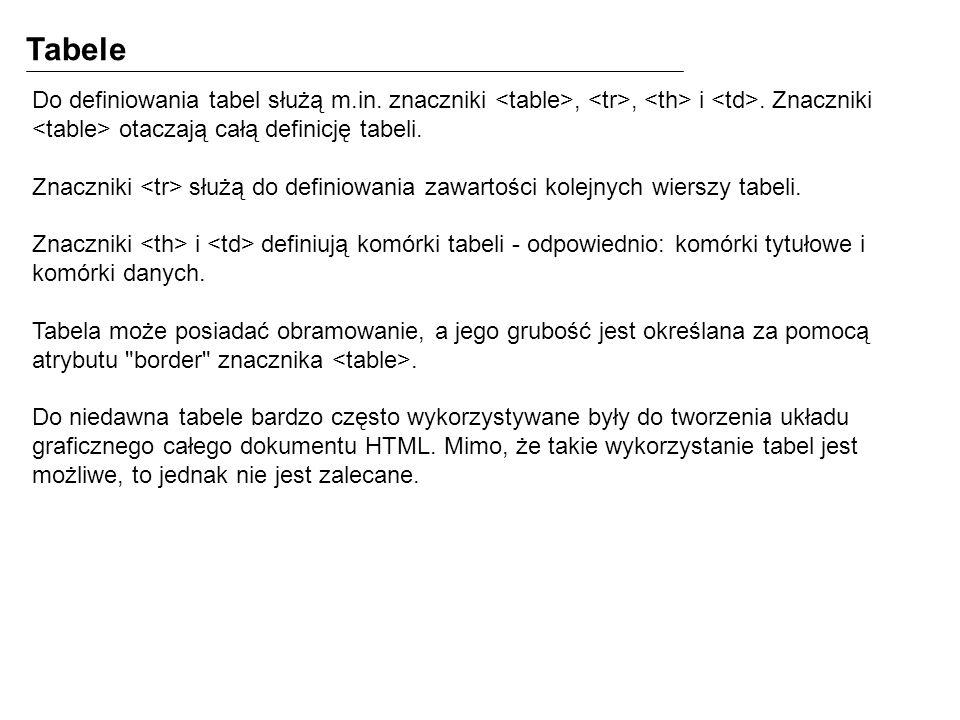 Tabele Do definiowania tabel służą m.in. znaczniki <table>, <tr>, <th> i <td>. Znaczniki <table> otaczają całą definicję tabeli.
