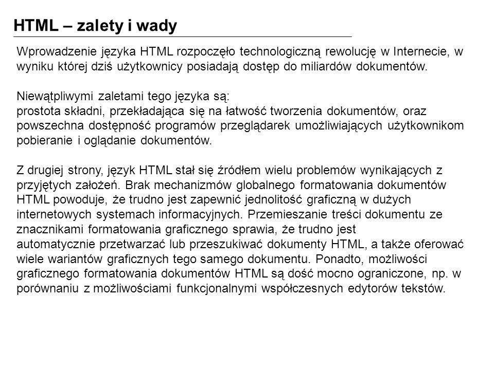 HTML – zalety i wady