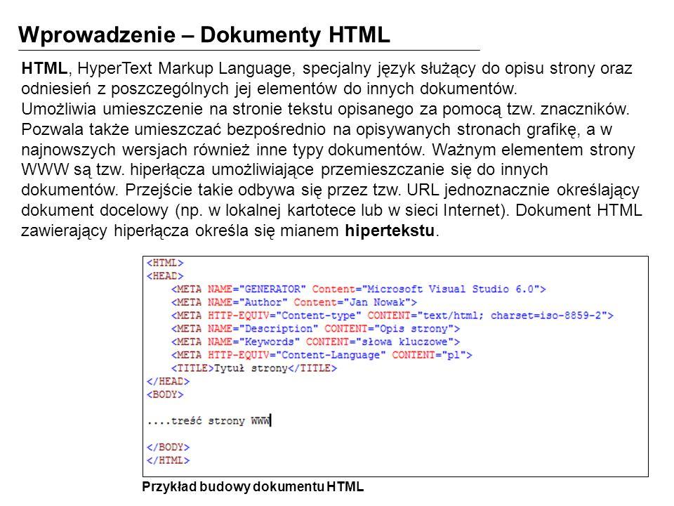 Wprowadzenie – Dokumenty HTML