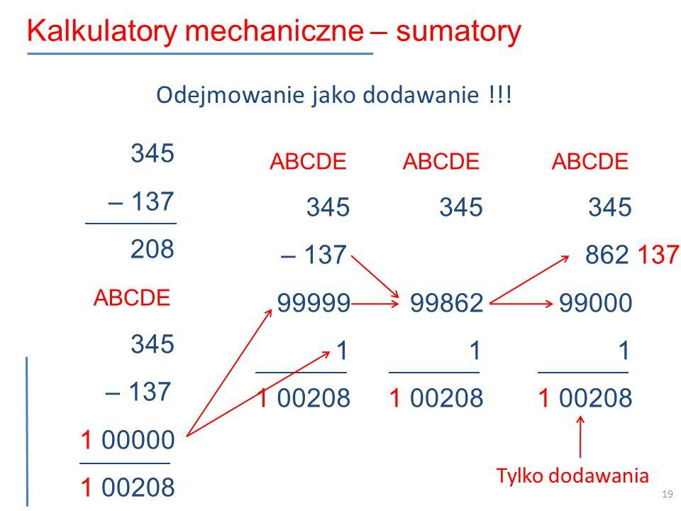 Kalkulatory mechaniczne – sumatory