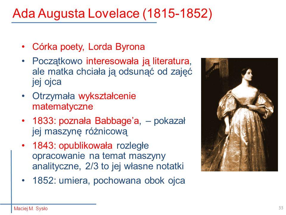 Ada Augusta Lovelace (1815-1852)