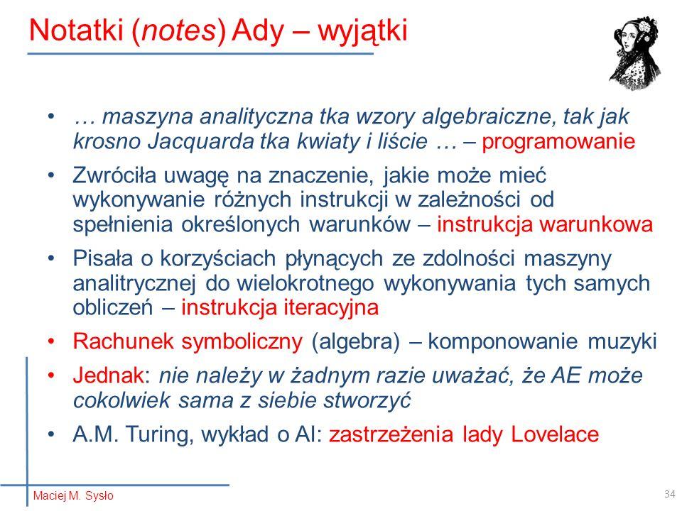 Notatki (notes) Ady – wyjątki