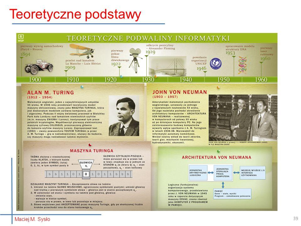 Teoretyczne podstawy Maciej M. Sysło