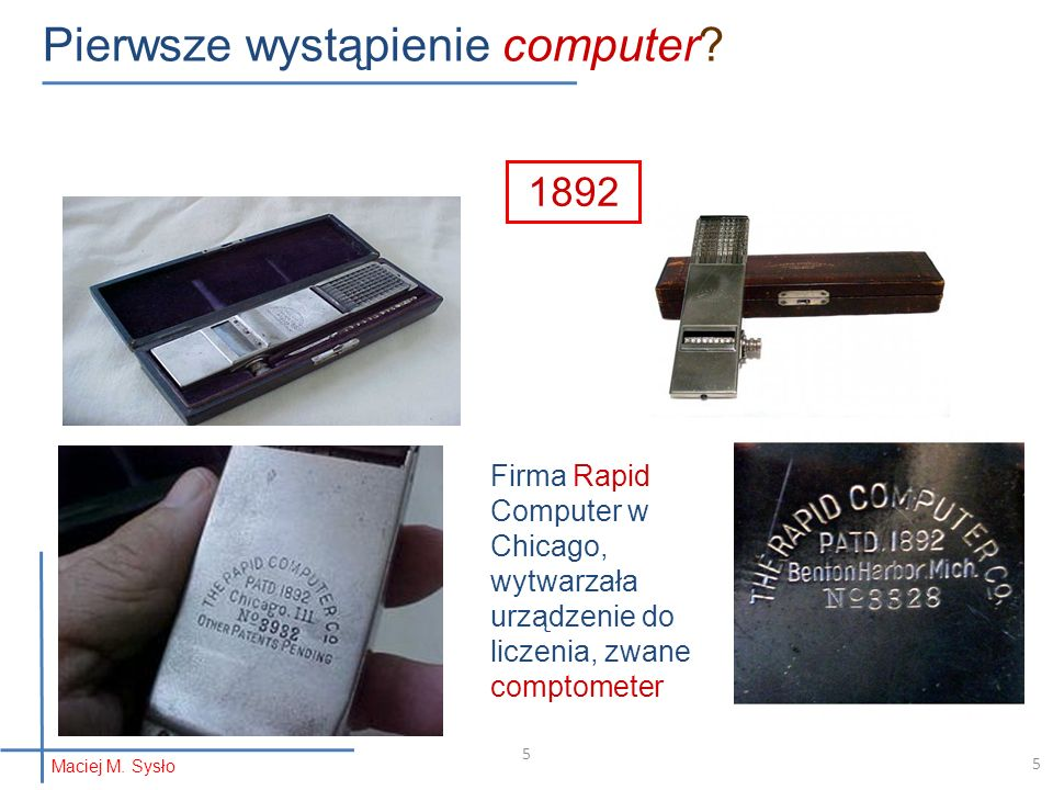 Pierwsze wystąpienie computer