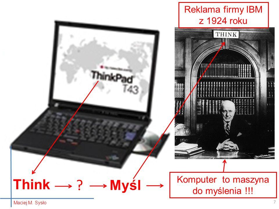Think Myśl Reklama firmy IBM z 1924 roku
