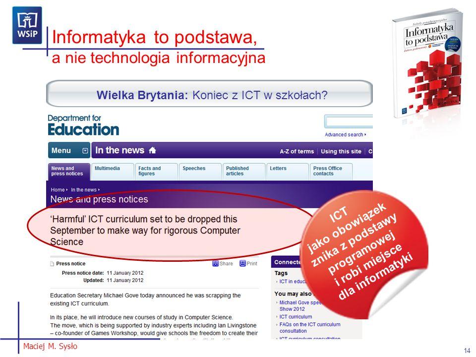 Wielka Brytania: Koniec z ICT w szkołach