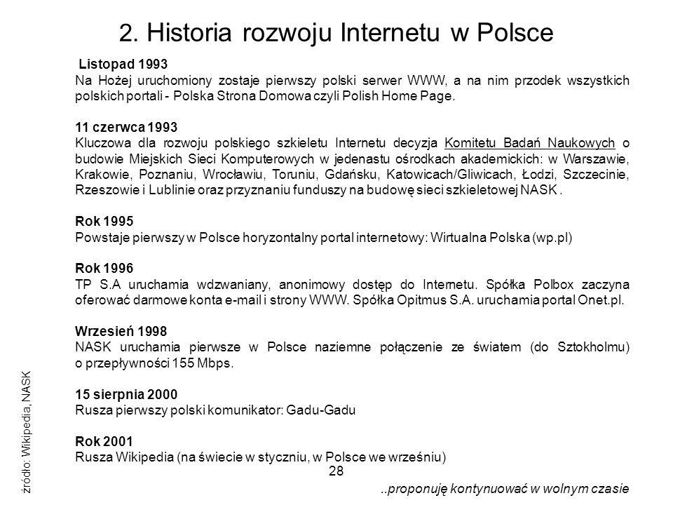 2. Historia rozwoju Internetu w Polsce