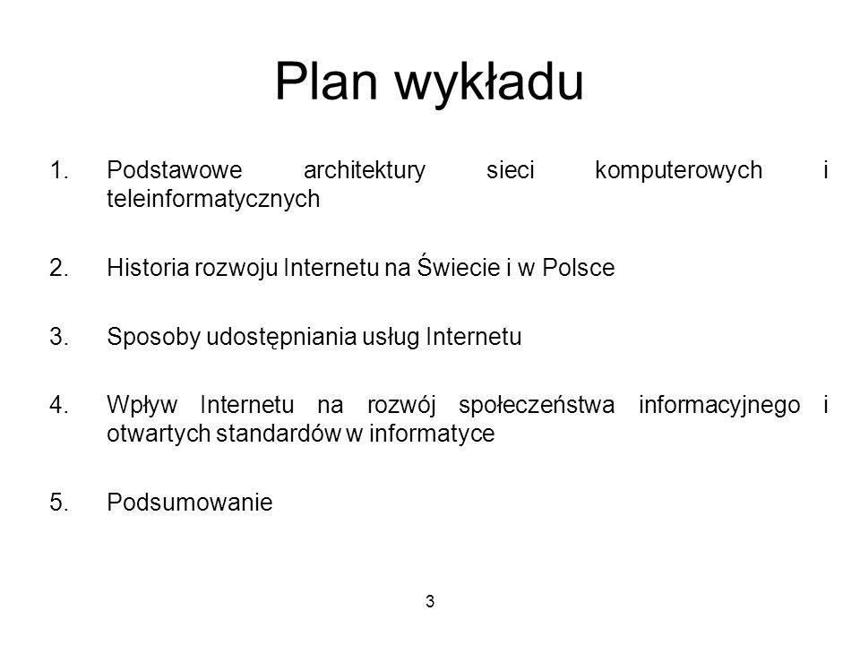 Plan wykładuPodstawowe architektury sieci komputerowych i teleinformatycznych. Historia rozwoju Internetu na Świecie i w Polsce.