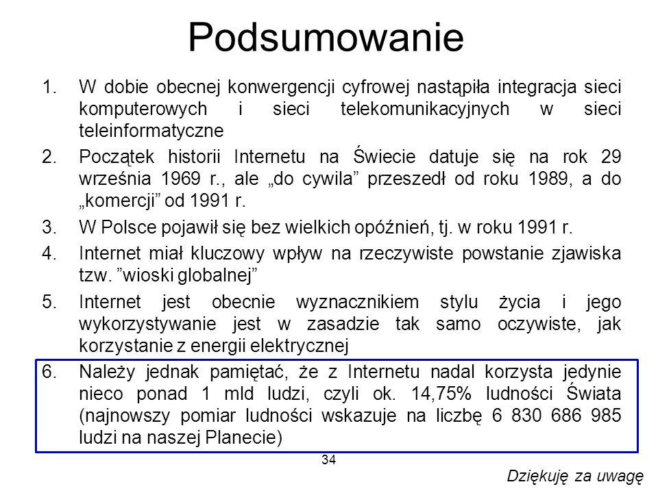 Podsumowanie W dobie obecnej konwergencji cyfrowej nastąpiła integracja sieci komputerowych i sieci telekomunikacyjnych w sieci teleinformatyczne.