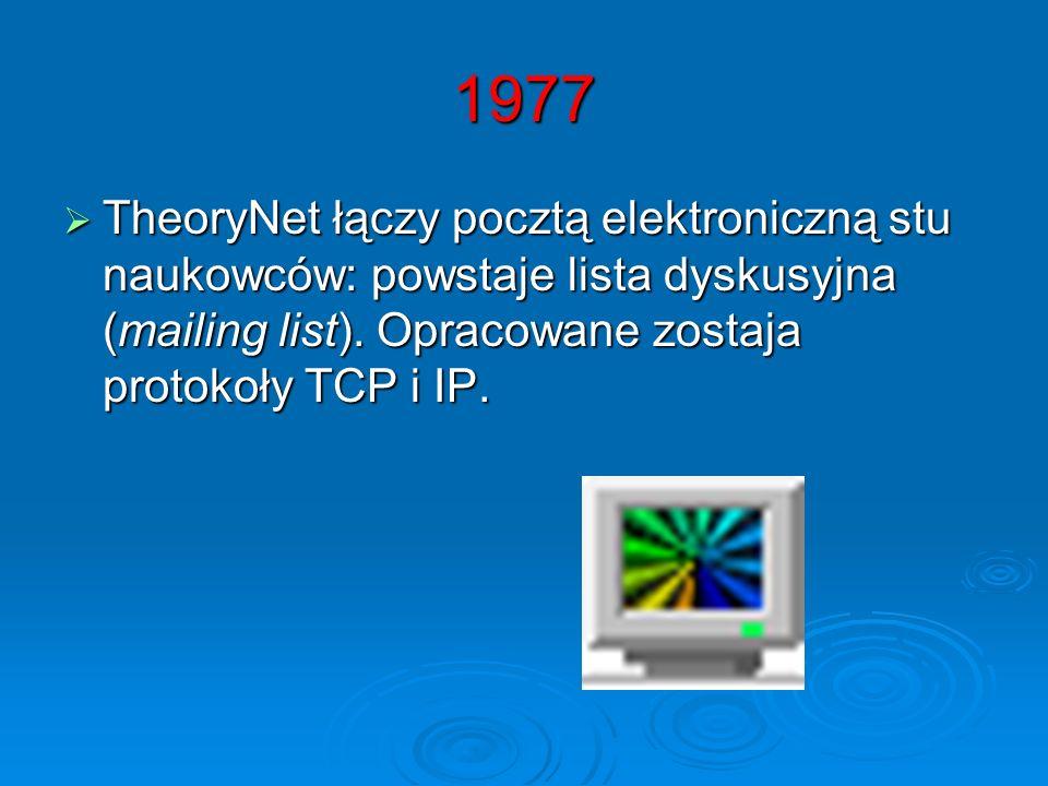 1977 TheoryNet łączy pocztą elektroniczną stu naukowców: powstaje lista dyskusyjna (mailing list).