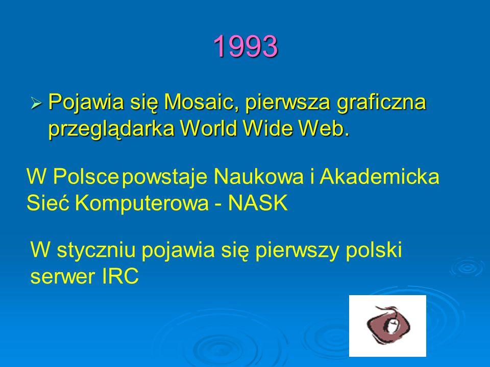 1993 Pojawia się Mosaic, pierwsza graficzna przeglądarka World Wide Web. W Polsce powstaje Naukowa i Akademicka.