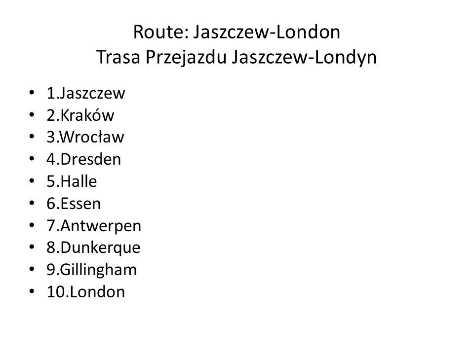 Route: Jaszczew-London Trasa Przejazdu Jaszczew-Londyn