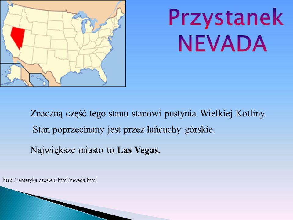 PrzystanekNEVADA. Znaczną część tego stanu stanowi pustynia Wielkiej Kotliny. Stan poprzecinany jest przez łańcuchy górskie.