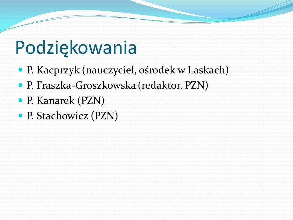 Podziękowania P. Kacprzyk (nauczyciel, ośrodek w Laskach)