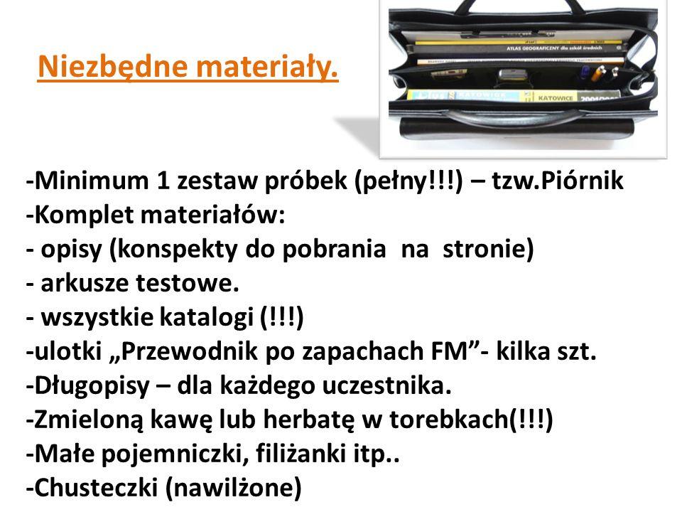 Niezbędne materiały. -Minimum 1 zestaw próbek (pełny!!!) – tzw.Piórnik