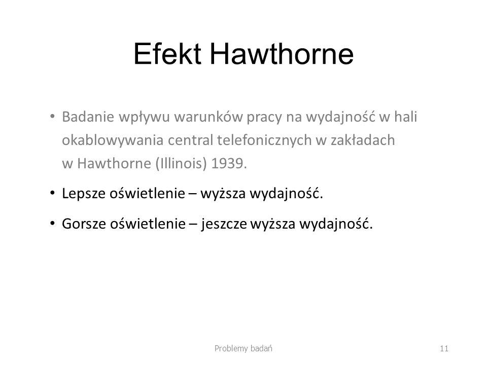 Efekt Hawthorne Badanie wpływu warunków pracy na wydajność w hali okablowywania central telefonicznych w zakładach w Hawthorne (Illinois) 1939.