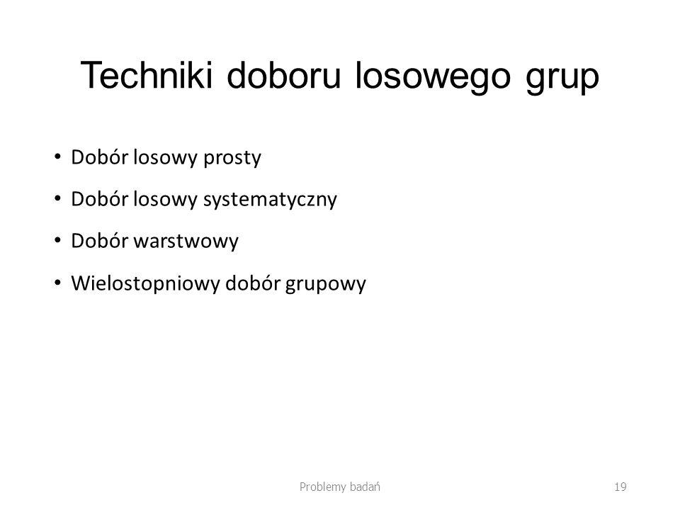 Techniki doboru losowego grup