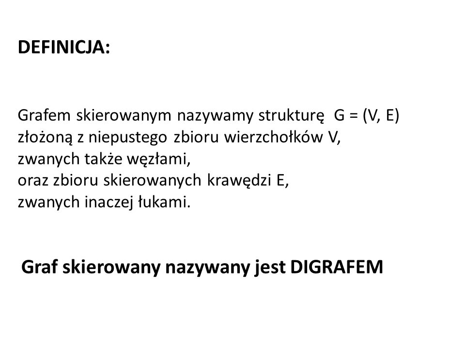 Graf skierowany nazywany jest DIGRAFEM
