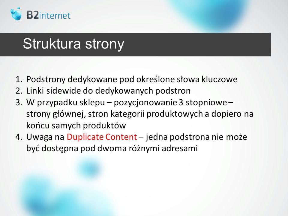 Struktura strony Podstrony dedykowane pod określone słowa kluczowe