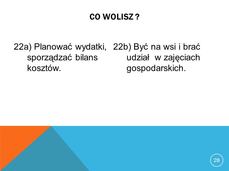 22a) Planować wydatki, sporządzać bilans kosztów.