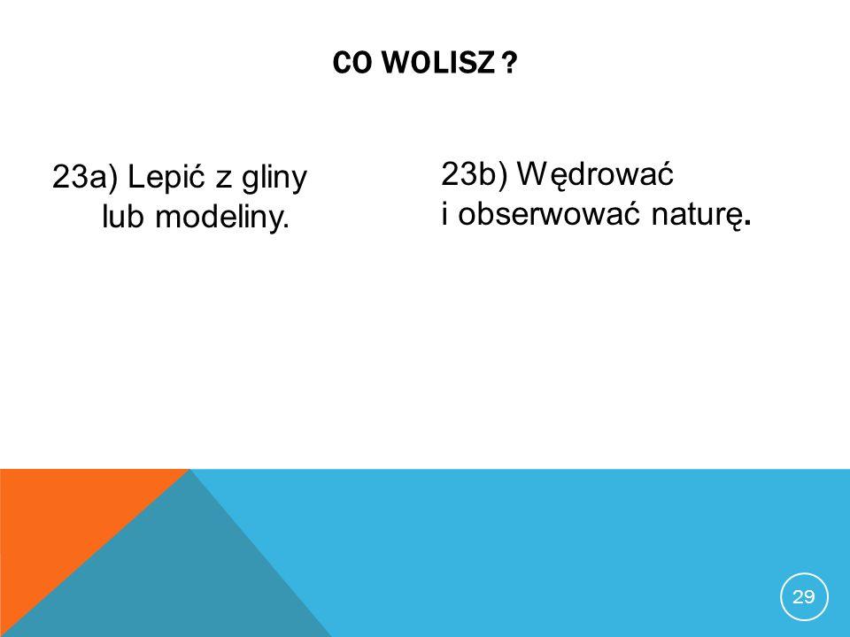 23a) Lepić z gliny lub modeliny. 23b) Wędrować i obserwować naturę.