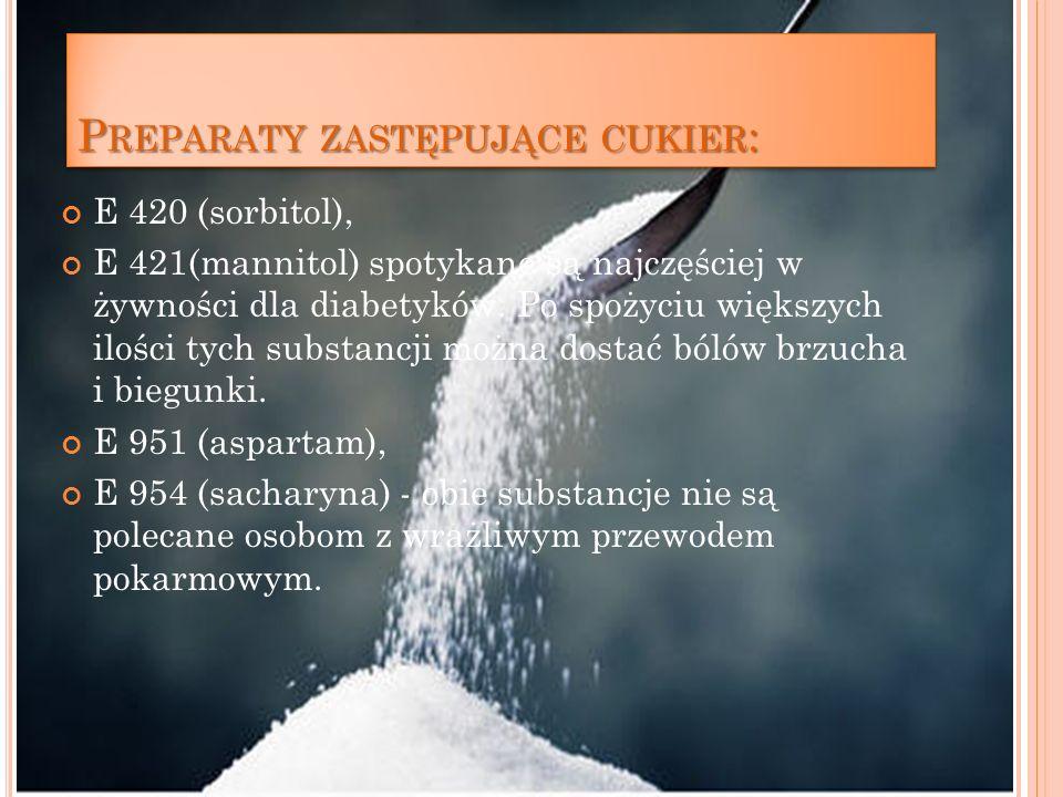 Preparaty zastępujące cukier: